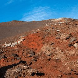 Climbing Mt Fuji looks like Mars the rocks are so red