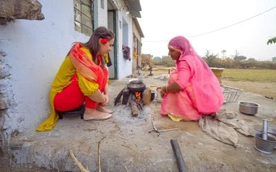 Drinking Chai with a visitor in Pushkar India