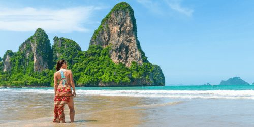 Woman standing in Railay Beach one of the Best Places in Thailand
