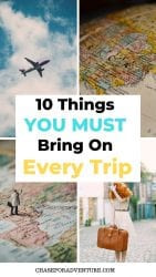 If you're wondering the 10 things every traveler should pack! This is the top 10 for you! Whether you're wondering what to pack for 6 months, or what to pack for a weekend trip, these items are a must have in your bag! We travel the world full-time, and these are things we bringing traveling with us every time. #wanderlust #travelguide #whattopack