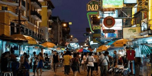 Khao San Road at Night in Bangkok Thailand