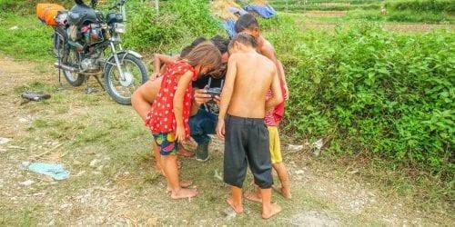 Ha Giang Loop Kids watching a drone
