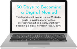 Laptop with 30 Days to Becoming a Digital Nomad Master Course Pulled Up