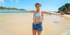 Sri Lanka for Digital Nomads girl with a beach to herself in Sri Lanka