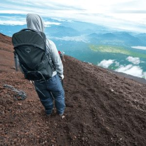 Man Climbing Mt Fuji on the Decent after the summit