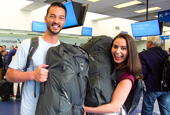 Annette and Daniel Fortner from Chase for Adventure getting on their first flight.
